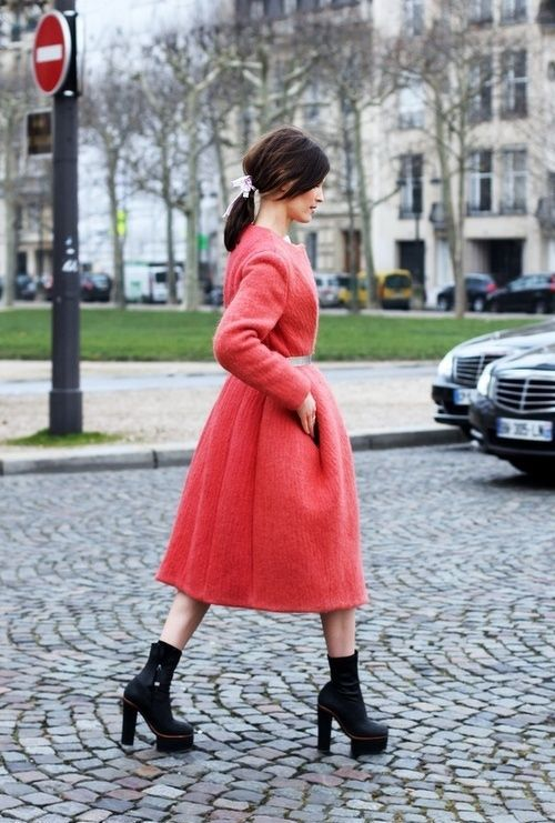 a coral pink midi coat, black platform booties will make your look trendy and stylish