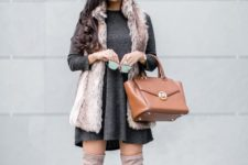 10 a graphite grey mini dress, a fur waistcoat, tall neutral boots and a camel bag for a girlish look