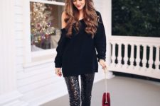10 a one shoulder black sweater, black sequin leggings, black heels for a casual yet shiny look