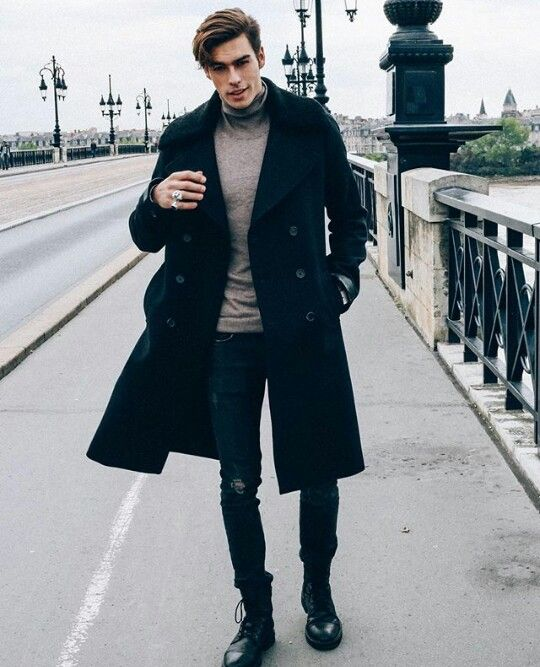 winter men's look with combat boots