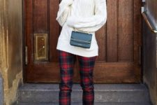 10 a turtleneck cable knit sweater, plaid cropped pants, black flats and a black crossbody for casual chic