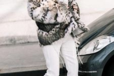 10 a white sweater over a black turtleneck, white cropped pants, blakc tights, black booties and a faux fur coat with an animal print