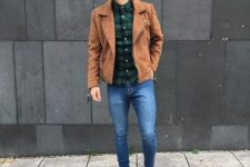 10 blue skinnies, a plaid shirt, a brown suede jacket and beige boots for an effortlessly cool look
