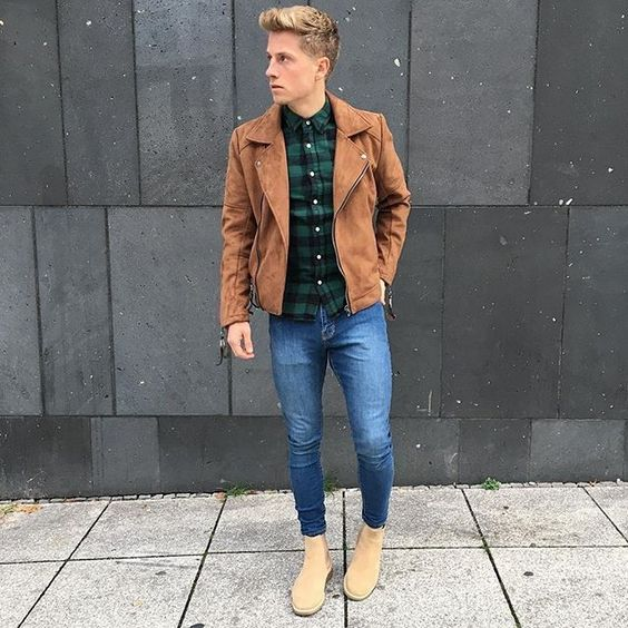 blue skinnies, a plaid shirt, a brown suede jacket and beige boots for an effortlessly cool look