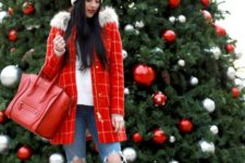 11 a white sweater, ripped skinnies, neutral ugg boots, a red plaid coat and a white beanie