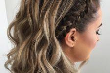 11 wavy medium length hair with a side braid is a trendy idea with a slight boho feel