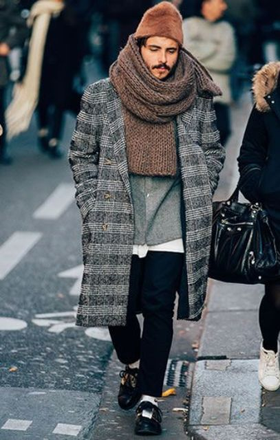 black jeans, black shoes, a white tee, a grey shirt, a grey plaid overcoat and a huge chunky scarf