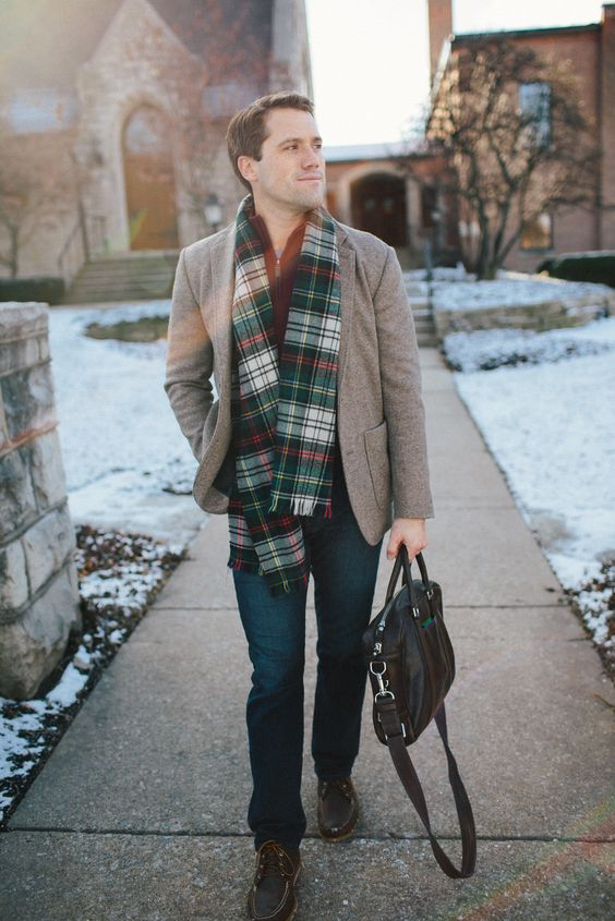 navy denim, brown shoes, a burgundy sweater, a plaid scarf and a grey jacket to rock