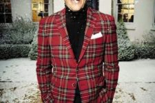 13 black pants, a black turtleneck and a red plaid blazer for a touchh of fun and whimsy