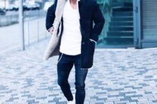13 navy denim, white sneakers, a white long sleeves, a black and white shearling coat, a grey beanie
