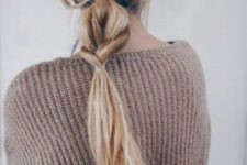 14 a messy low ponytail with a touch of braid integrated is a cool little hairdo for every day