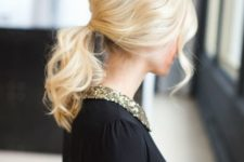 14 a messy wavy low ponytail with a bump and some bangs is a cool DIY idea