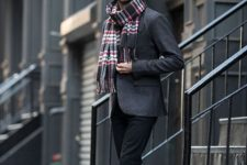 stylish men's look with a plaid scarf