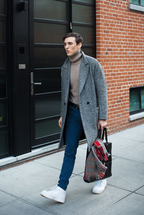 blue jeans, a taupe turtleneck sweater, a grey overcoat, white sneakers to feel comfy on cold days