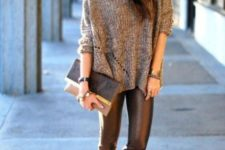 14 leather leggings, metallic shoes, a chunky knit sweater, a printed cluch for a casual New Year's party look