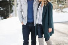14 navy jeans, a blue sweater, brown shoes and a short grey coat will make your look stylish