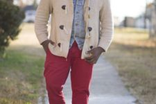 14 red pants, a white shirt with a tie, a denim jacket, a comfy cardigan and shoes for warm days