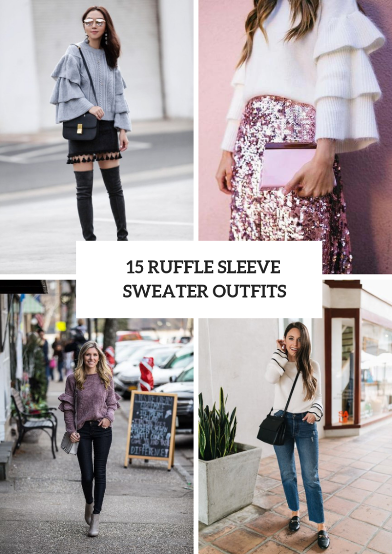 Cool Outfits With Ruffle Sleeve Sweaters For Winter Days