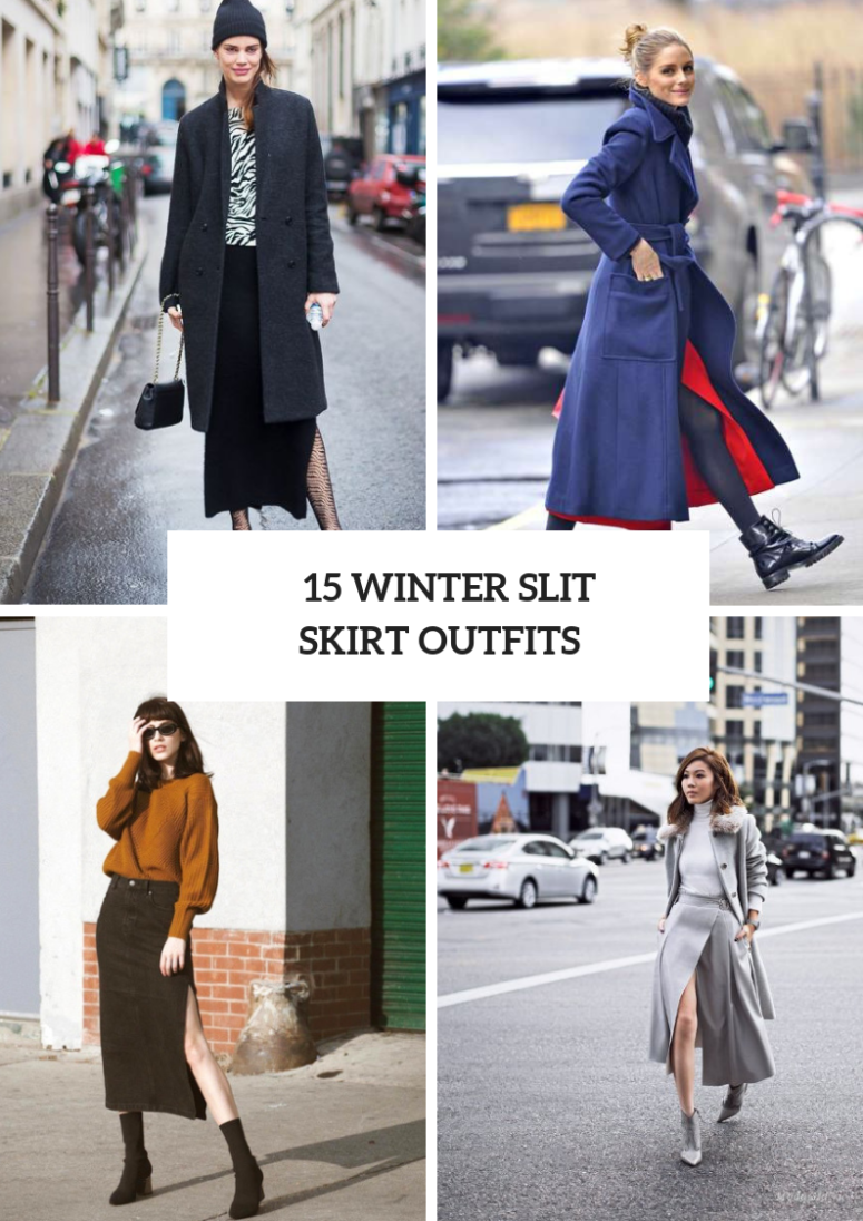 15 Feminine Winter Outfits With Slit Skirts