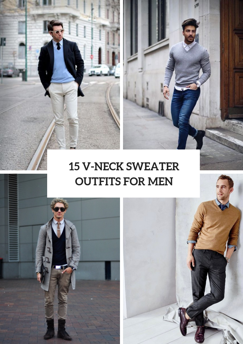 Men Outfits With V Neck Sweaters