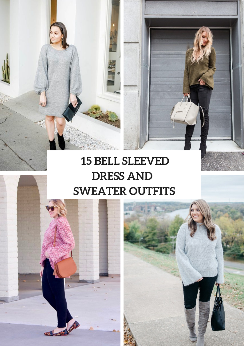 Women Outfits With Bell Sleeved Sweaters And Sweater Dresses