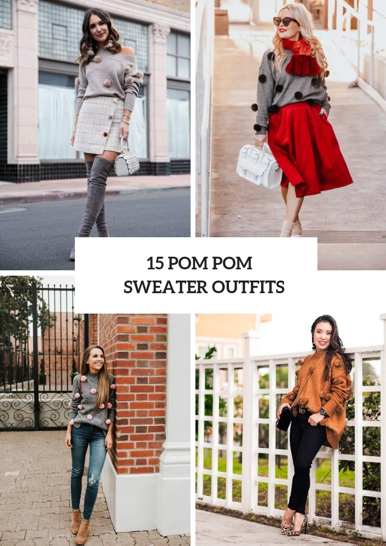 Women Outfits With Pom Pom Sweaters
