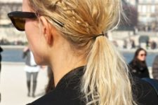15 a messy textural low ponytail with little braids is a hairstyle you may easily recreate for casual wear