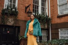 15 a yellow midi dress, an emerald fur coat, beige boots for a more formal date