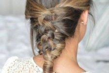 15 medium length hair done with a very creative mermaid braid and a bump is a creation option