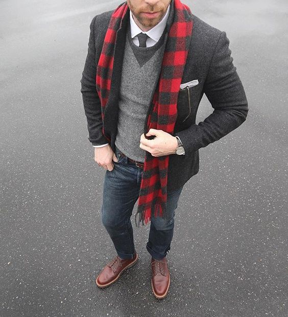navy jeans, a white shirt with a tie, a grey jumper, brown shoes, a grey tweed blazer and a plaid scarf