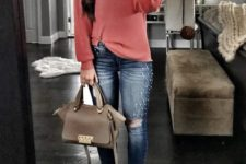 15 pearled ripped jeans, a coral pink sweater, brown suede flats and a matching bag for a girlish feel