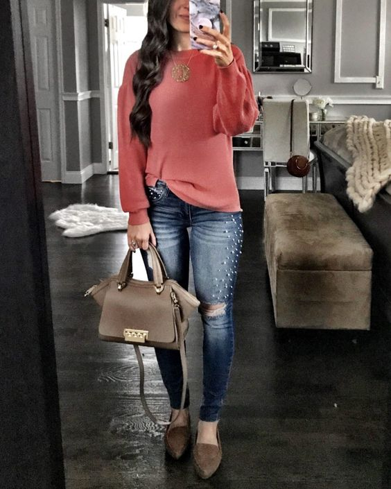 pearled ripped jeans, a coral pink sweater, brown suede flats and a matching bag for a girlish feel