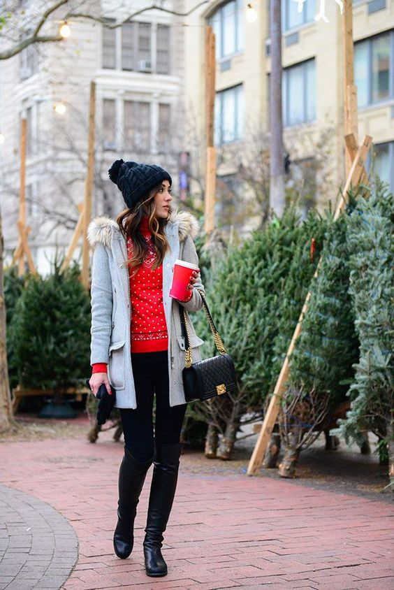 black tall boots navy skinnies, a red sweater, a grey coat with fur, a black beanie and bag