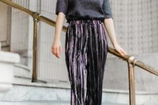 16 metallic pleated cropped pants, a sparkly top with short sleeves, teal heels for a non-typical look