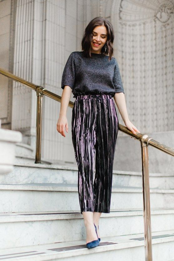 metallic pleated cropped pants, a sparkly top with short sleeves, teal heels for a non-typical look