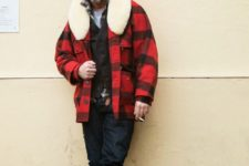 16 navy jeans, tall tan boots, a tee, a brown cardigan, a plaid coat with fut and a black beanie