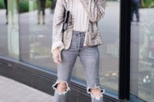 16 ripped grey skinnies, a white tee, black boots and a silver sequin blazer is a casual yet festive outfit