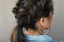 16 two side fishtail braids coming into a single low ponytail is a chic idea with much comfort