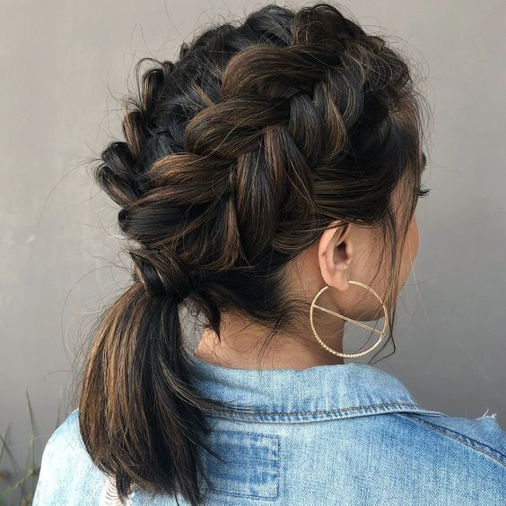 two side fishtail braids coming into a single low ponytail is a chic idea with much comfort
