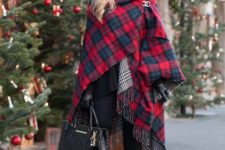casual christmas look with a poncho