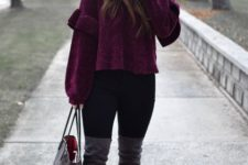 With black leggings, over the knee boots and printed tote