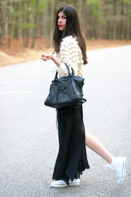 With black maxi skirt, black tote and white sneakers