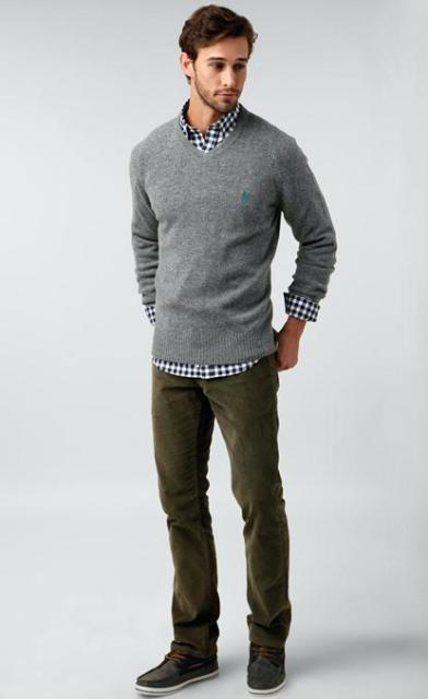 With checked shirt, olive green suede pants and shoes