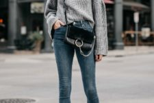With crossbody bag, skinny jeans and black suede ankle boots