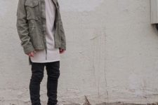 With denim jacket, loose t-shirt and black pants