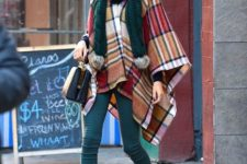 With emerald pom pom scarf, skinny pants, small bag and marsala leather ankle boots