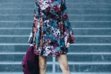With floral mini dress and purple coat