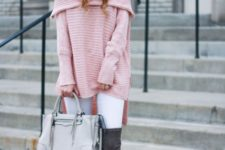 With fur pom pom hat, white leggings, white tote and gray boots
