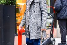 With gray coat, printed scarf and white sneakers