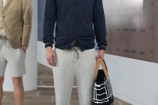 men outfit with a sweater and white sneakers